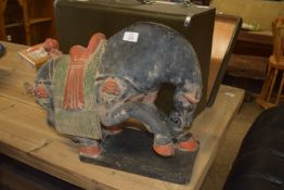 TERRACOTTA OR SIMILAR PAINTED CAST FIGURE OF A PRANCING HORSE, POSSIBLY INDIAN OR ORIENTAL IN