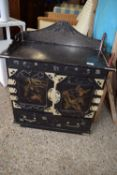 ORIENTAL COLLECTORS CABINET WITH JAPANNED FINISH DECORATED THROUGHOUT WITH VARIOUS LANDSCAPE SCENES,