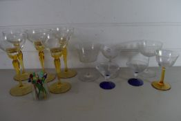 SET OF WINE GLASSES INCLUDING FIVE WITH AMBER COLOURED STEMS