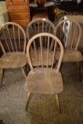 SET OF FOUR STICK BACK DINING CHAIRS