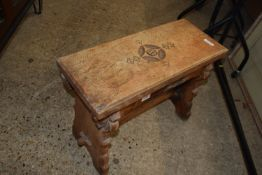 RUSTIC JOINTED OAK STOOL, APPROX 60 X 26CM, CARVED DECORATION AND INSCRIPTION TO TOP