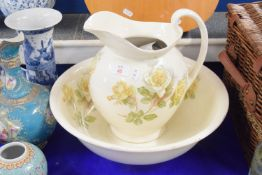 LARGE JUG AND BASIN WITH FLORAL PRINTS