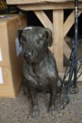 BRONZED METAL FIGURE OF A SEATED DOG, HEIGHT APPROX 59CM