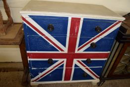CHEST OF DRAWERS DECORATED WITH UNION FLAG, WIDTH APPROX 95CM