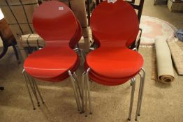 SET OF FOUR CHROME FRAMED CHAIRS