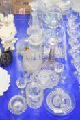 SET OF GLASS WARES, CANDLESTICK, VARIOUS JUGS ETC