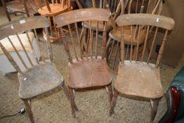THREE STICK BACK DINING CHAIRS