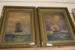 PAIR OF FRAMED OIL PAINTINGS ON TIN DEPICTING 19TH CENTURY SAILING SHIPS, EACH APPROX 34 X 22CM