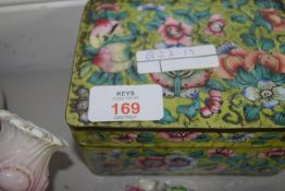 CLOISONNE BOX WITH FAMILLE ROSE FLOWERS AND OTHER POTTERY ITEMS