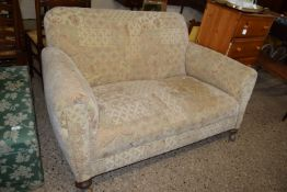 VINTAGE TWO-SEATER SOFA WITH BUN FEET, LENGTH APPROX 152CM