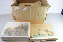 BOX CONTAINING VARIOUS PRINTS BY COTMAN, BURNS ETC