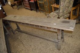 VINTAGE JOINTED BENCH WITH TURNED LEGS AND CARVED FRIEZE, LENGTH APPROX 196CM