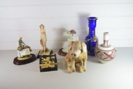 BOX CONTAINING CERAMICS, SOME FIGURES, MODEL OF A PIG AND GREEK STYLE VASE