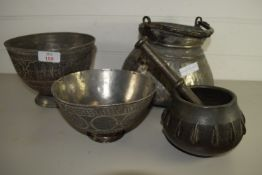 METAL WARES WITH MIDDLE EASTERN STYLE DECORATION