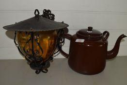 LARGE METAL TEA POT, HANGING LAMPSHADE