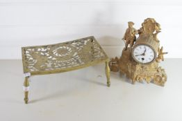 SMALL GILT CLOCK AND BRASS STAND