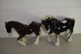 PAIR OF POTTERY HORSES