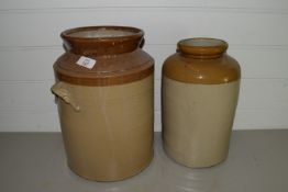 BOX CONTAINING TWO LARGE BUFF POTTERY JARS