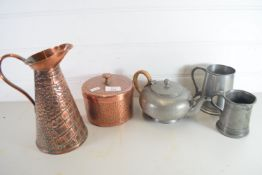 COPPER JUG, COPPER BOWL AND COVER AND SOME PEWTER ITEMS