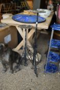 TWO WROUGHT IRON PLANT STANDS, APPROX 76CM MIN