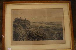FRAMED ENGRAVING DEPICTING GROUSE SHOOTING, SIGNED TO MARGIN A. STEWART WRITLEY, APPROX 42 X 62CM