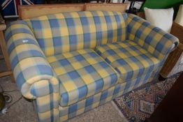 MODERN CHECK PATTERN TWO-SEATER SOFA, LENGTH APPROX 178CM