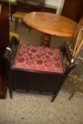 VINTAGE PANELLED PIANO STOOL, WIDTH APPROX 62CM
