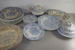DINNER WARES IN BLUE AND WHITE DESIGN BY BURLEIGH