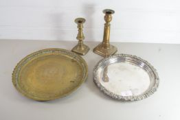 PAIR OF BRASS CANDLESTICKS, PLATED TRAY