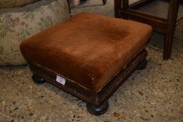 SMALL 19TH CENTURY FOOT STOOL RAISED ON BUN FEET, APPROX 34CM SQ
