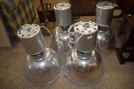 SET OF FOUR LARGE METAL INDUSTRIAL STYLE LAMP FITTINGS, EACH APPROX 52CM