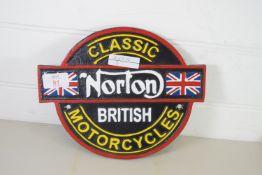 REPRODUCTION NORTON MOTORCYCLES METAL BADGE
