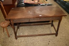 ARTS AND CRAFTS STYLE JOINTED SIDE TABLE WITH TURNED LEGS AND CARVED FRIEZE, APPROX 122 X 49CM