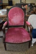 HEAVILY CARVED VICTORIAN UPHOLSTERED ARMCHAIR, WIDTH APPROX 68CM MAX