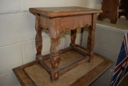 VINTAGE OAK JOINTED STOOL, APPROX 47 X 28CM
