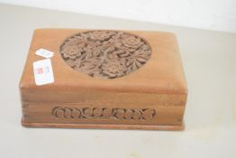 SMALL WOODEN BOX WITH CARVING TO COVER