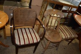 CANE BACKED BENTWOOD CHAIR, WIDTH APPROX 55CM MAX, TOGETHER WITH A PINE KITCHEN CHAIR AND A
