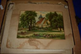 BOX CONTAINING OLD UNFRAMED PRINTS