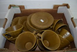 COLOURED POTTERY TEA WARES, 8 CUPS AND SAUCERES