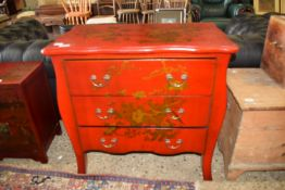 PAINTED CHEST OF DRAWERS DECORATED IN THE ORIENTAL STYLE WITH BIRDS AND FOLIAGE ETC, WIDTH APPROX