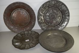 MIDDLE EASTERN METAL WARES, WITH TYPICAL SCROLL DECORATION