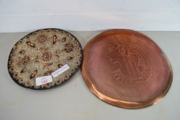 SMALL EGYPTIAN STYLE COPPER TRAY AND FURTHER TRAY