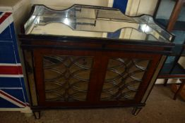 MIRRORED MAHOGANY SIDE CABINET, WIDTH APPROX 111CM