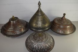 MIDDLE EASTERN METAL WARES, VARIOUS BOWLS AND COVERS WITH TYPICAL DECORATION