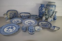 BLUE AND WHITE POTTERY, VARIOUS DISHES AND VASES