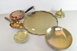 BRASS TRAY CONTAINING METAL WARES, BRASS DISHES ETC