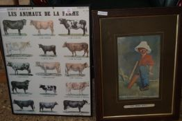 "FRAMED FRENCH AGRICULTURAL PRINT ""LES ANIMAUX DE LA FERME"" DEPICTING VARIOUS CATTLE BREEDS, WIDTH"