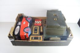 BOX CONTAINING METAL BOXES, MONEY BOXES AND A BISCUIT TIN