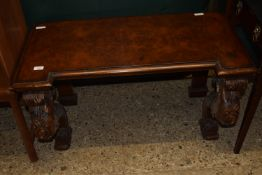 HEAVILY CARVED HARDWOOD BENCH, LEGS DECORATED WITH FLORAL MOTIFS, APPROX 97 X 52CM MAX