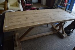 LARGE DISTRESSED PINE REFECTORY TABLE, APPROX 180 X 80CM